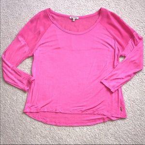 Juicy Couture Sheer Mesh 3/4 Sleeves Top